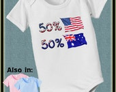 50 American USA 50 Australian bodysuit Aussie Baby Bodysuit with nationality flags - flag shirt - flag bodysuit - nationality bodysuit