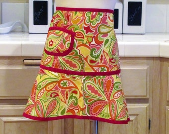 Heirloom Half Apron with Pocket: Vibrant Modern Paisley with Red Trim