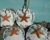 Will You Be My Bridesmaid? Arrowhead Sand Dollar Calligraphy Ornaments w Baby Sugar Starfish/ Beach Wedding/ Favors/ Organza Ribbon, Twine