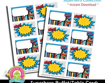 Superhero Buffet Table Labels / Superhero Party / Superhero Birthday / Superhero Party Favors / INSTANT DOWNLOAD