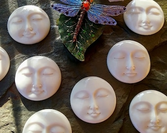 Moon Face, Cabochon, 35mm, Hand Carved Bone, Closed Eyes, Indonesia, Priced per Piece