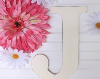 SUMMER SALE Large Letter J / Wall Letter / Wood Letter / Choice Color / Cottage/ Wedding / Shabby Chic Decor