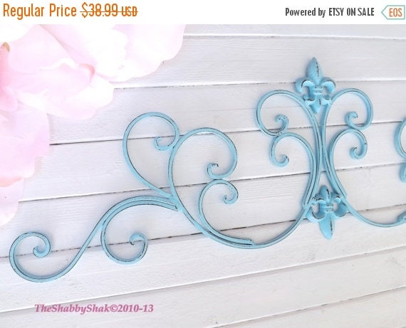 SUMMER SALE Aqua Wall Decor / Wrought Iron /Fleur De Lis Wall Decor / Shabby Chic Decor / Bedroom Wall Decor / Kitchen Decor