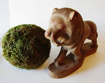 Wood Lion Sculpture, Tabletop Decor, Statement Piece, Hand Carved Wood, Zoo Animal