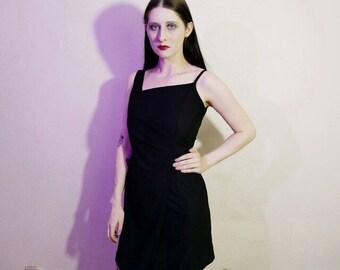90s minimalist asymmetric little black dress size M
