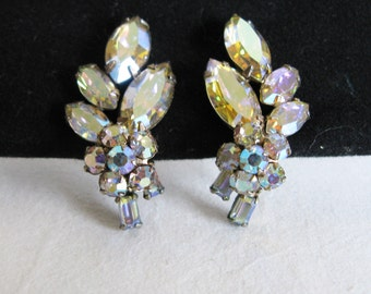 1950s Sherman of Canada Earrings Vintage 50s Austrian Rhinestone Collectible Evening Clip On Earrings