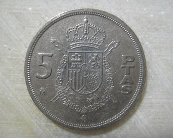 Spain 1984,  5 Pesetas  Coin - Juan Carlos I, Coat of Arms of Spain