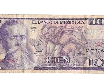100 Cien Pesos, Paper Money, 1974 AX Serie, El Banco De Mexico Bank Note Bill, Mexican Currency, 1 piece