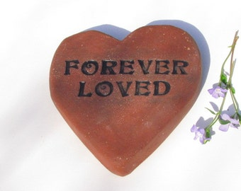 "Heart shaped memorial stone marker. Inscription ""Forever Loved"" ~ Small Pet grave marker, gravestone. Sculpted clay brick heart"
