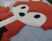 Security Blankie/ Red Fox Blanket/Baby Blanket Fleece/ Lovie/ Baby Shower Gift/ Crib Blanket/ Stroller Blanket/ Hand-Stitched/ Gray/Grey