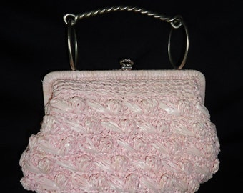 Pink Raffea Woven Vintage 1950's Rockabilly Women's Handbag Purse