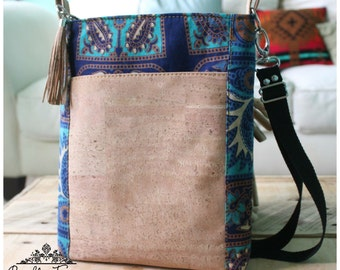 Sasha Cross body bag - crossbody bag - cork bag - mandala bag - mandala - cork bag - blue bag - hipster bag