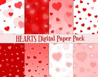 Heart digital paper Valentine digital paper Love digital paper Red digital paper heart confetti digital paper Valentines Day