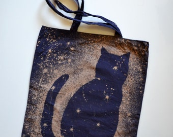 Space Cat Tote Bag - Cotton Canvas Tote - Galaxy Cat Bag - Cat Tote - Gift for Coworker - Girlfriend Gift - Cat lover Gift