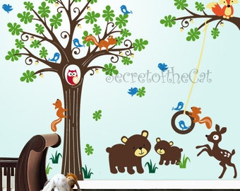 Nursery Wall Decal Tree Vinyl Decal- Squirrel Forest Decal - Children Wall Sticker - Tree wall decal - Tree decal