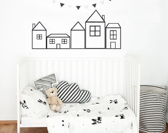 Wall Decals Nursery - Nursery wall Decal - House Decal - Outline decals - house - Wall Decal