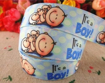 "Baby Boy Blue Printed Grosgrain Ribbon 7/8"" ( 22mm)Width /Hair Bow DIY/Head band DIY/ Kids Craft Supplies/Baby Shower decoration"