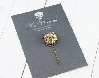 Rhinestone Hair Pin - Vintage Bridal Hair Pin - AB Rhinestone Bobby Pin - Unique Gift for Her - Gift Under 15 - Bronze Hair Pin