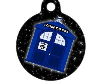 Pet ID Tag - Doghouse K9 Blue Police Box Pet Tag, Dog Tag