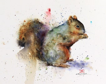 SQUIRREL Watercolor Print, Squirrel Art Painting,  by Dean Crouser
