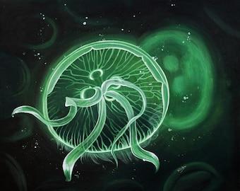 Acrylic Painting Green Flowing Jellyfish Underwater Art Print