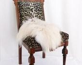 Genuine icelandic sheepskin chair cover white fur B