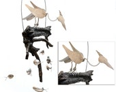 Whirlybird Animated Heron Spoon Fish Wind Chime, Whirligig  Whirly Bird Spinner, Bobbing Bobble head, Scrap Metal Yard Art, Outdoor Ornament