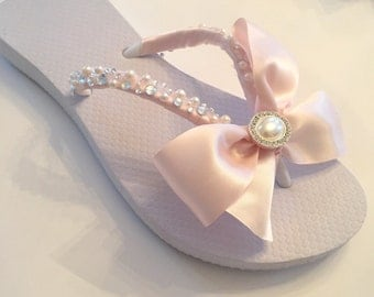 Wedding Flip Flops/Wedges/Shoes.BRIDAL Flip Flops.Blush Bridal Shoes/Flip Flops. Ivory Flip Flops. Destination Wedding.Wedged Wedding Shoes.