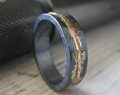 Mens Wedding Band Rustic Wedding Band Mens Wedding Ring Oxidized Ring Gold Black Ring Rustic Ring Unique Ring Bimetal Ring OOAK Ring Artisan