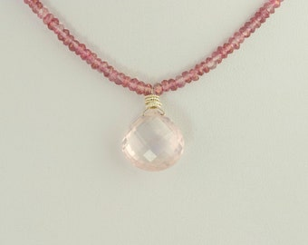 Rose Quartz Necklace Madagascar Faceted Pink Fumed AAA