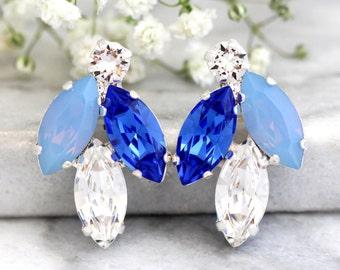 Blue Bridal Earrings, Blue Silk Earrings, Bridesmaids Blue Earrings, Bridal, Royal Blue Earrings,Sapphire Blue Earrings, Baby Blue Earrings