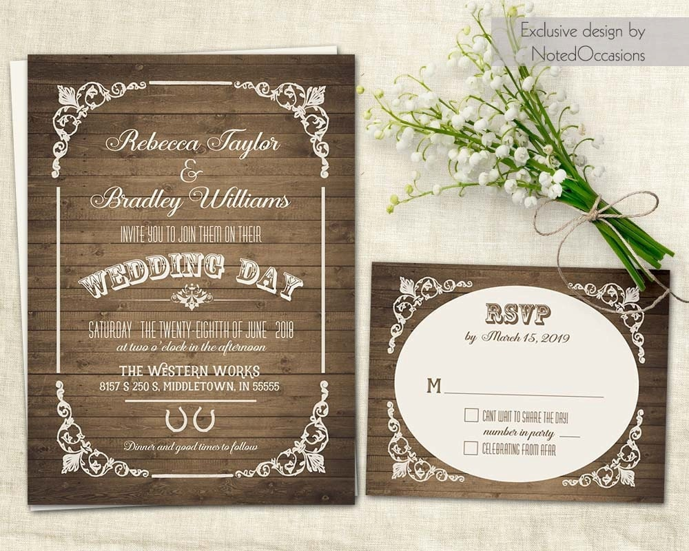 Rustic Wedding Invitation Sets: Western Wedding Invitation Sets Country Wedding Rustic Wedding