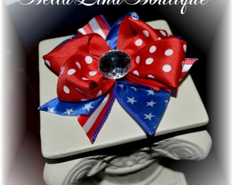 """Red White and Blue Clip on Boutique Girl's Bow - 4.5"""" - Patriotic Girls Hair Bow - Ready to Ship!"""