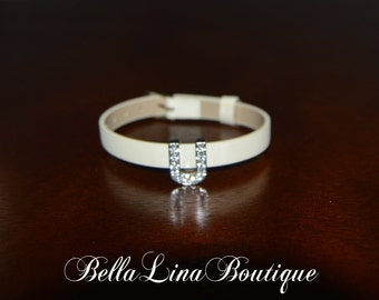 """Letter U European Stainless Steel and Crystal Initial Monogram Bracelet on Off White Adjustable Band - Fits 5-7"""" Wrist - Ready to Ship!"""