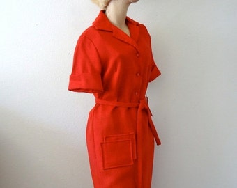 SALE - 1960s Day Dress / 60s Red Shift Dress / Vintage NOS