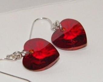 Red Magma Heart Earrings