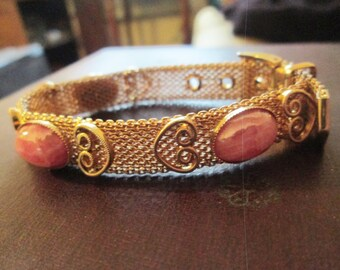 pretty PINK glass moonstone CABS gold tone mesh BUCKLE slide scrolled bracelet