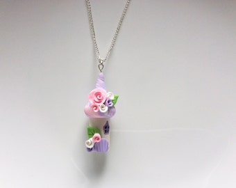 Fairy house necklace in pink and lilac handmade from polymer clay