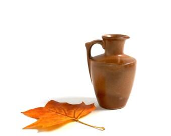 Vintage Ceramic Pitcher Jug Frankoma 838 1960s Brown Vase Candleholder