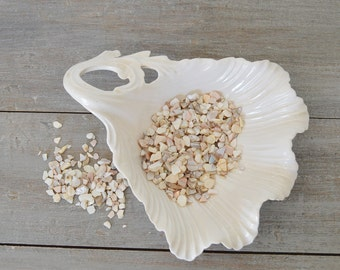 Vintage California Pottery White Leaf Dish