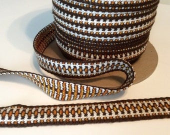 Cotton Trim in Brown, White and Orange 6 Yards