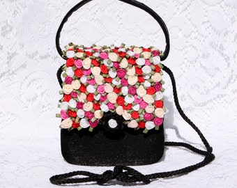 Darling, Bright Floral Formal Purse - Tiny Rosettes in Pink, Red, White, & Cream on Shimmery Black Satin - Vintage Lillie Rubin - Must See
