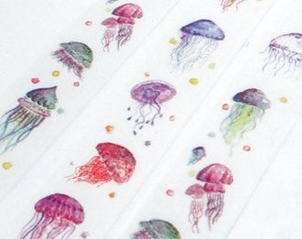 Jellyfish Washi Tape - Colorful Marine Aquatic Jellies - Paper Tape Great for Calendars Scrapbooking Paper Crafts Organizing - 20 mm x 10 m