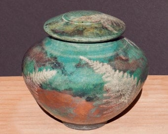 Turquoise Fern Raku Urn, Copper with Fern detail for Home Decor & Storage