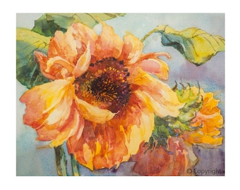 """Sunflower Watercolor Print, Limited Edition Giclee print of """"Good Morning"""", original painting by Carla Niehaus, Free Shipping"""