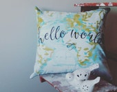 Bright Aqua Hello World Pillow Case,  Shabby Chic with Envelope Back, Home Decor, Cushion Cover