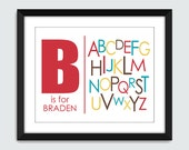 Letter is for Personalized Name with Alphabet ABC Wall Art - 8x10 Baby Children Nursery Wall Print Poster