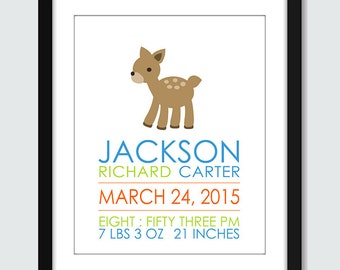 Deer / Fawn Birth Announcement Wall Art Print Poster - 8x10 Baby Nursery by mateoandtobias on Etsy