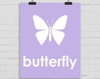 Butterfly Wall Art, Nursery Wall Art, Butterfly Print, Kids Wall Art, Playroom Art, Childrens Art, Modern Nursery Print, Printable Art