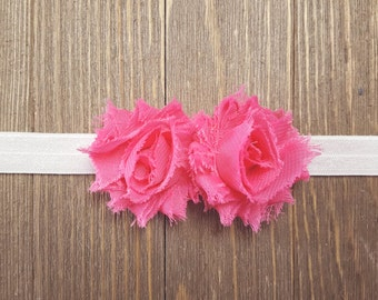 Hot Pink Headband, Baby Headband, Girls Headband, Newborn Headband, Flower Headband, Photography Prop, Newborn Photo Prop, Shabby Headband